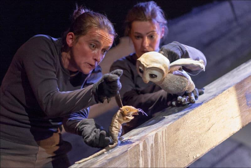 Deux femmes manipulent des marionnettes, l'une une chouette et l'autre un rat